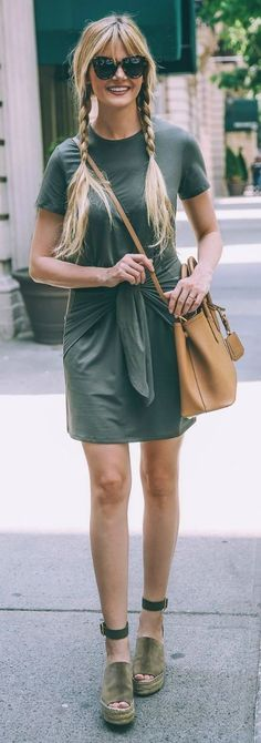 #summer #popular #outfitideas Olive Green + Pop Of Camel