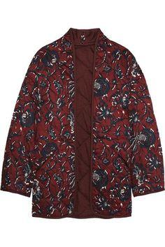 Étoile Isabel Marant - Daca Floral-print Quilted Cotton Jacket - Burgundy - FR36