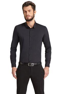 Koszula czarna Paolo wykonana z bawełny, elementy syntetyczne.