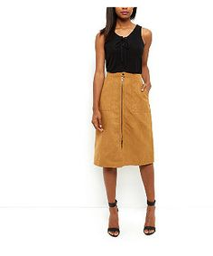 Tan Suedette Zip Front A-Line Midi Skirt  | New Look