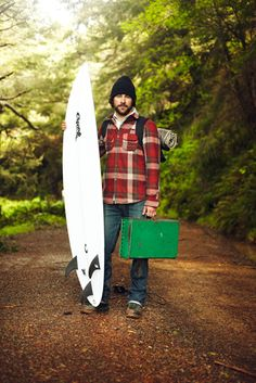 product shot, board/gear/clothing, woodsy setting