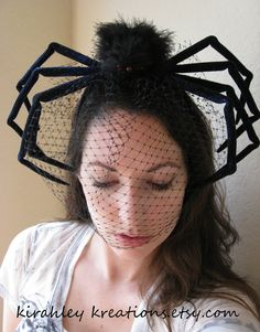 The WIDOW -- Scary Huge Black Widow Spider Headband/Headpiece with Black Veil - KirahleyKreations at Etsy