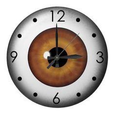 Brown Eyeball Iris Eye Custom Large Round Clock