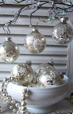 Brocante kerstversiering - silver christmas decorations #myHOFwishlist