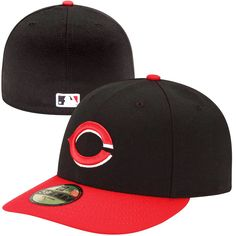 New Era Cincinnati Reds Low Crown AC 59FIFTY On-Field Fitted Performance Hat - Black/Red - $27.99