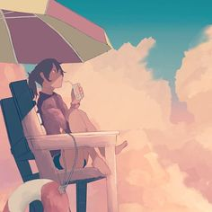 Another quick sketch  #anime #animeart #manga #mangaart #sketch #doodle #girl #beach #summer #illustration #clouds