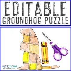 EDITABLE Groundhog Day Activity - Create your own math or literacy puzzles! | 1st, 2nd, 3rd, 4th, 5th, 7th, 8th grade, Activities, English Language Arts, Fun Stuff, Games, Homeschool, Math, Middle School, Winter
