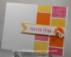 Cute & Curly Thank You Postage Stamp Punch Card