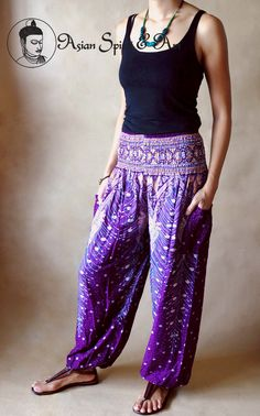 Dark purple peacock feathers boho pants - Find our shop at http://stores.ebay.de/Asian-Spirit-and-Art or connect with us on facebook http://www.facebook.com/asian.spirit.art