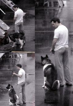Henry and his dog, Kal-L, on the set of 'Batman v Superman'