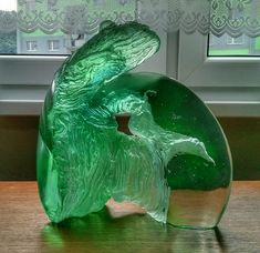FRAGMENT from FOREST, kiln casting uranium glass,30x34x12cm,10 kg,2018 by Petr Stacho