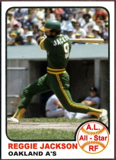 1973 Topps Reggie Jackson All-Star. Baseball Cards That Never Were, Oakland A's customized sports trading cards, kids sports trading cards