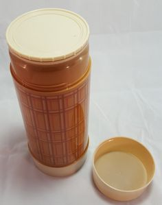 Vintage Aladdin Tan Plaid Thermos 1 Quart Wide Mouth WM4060 Brown Beige Red Retro Picnic Ware Lunchbox Supply Insulated Travel Bottle by PinkFlyingPenguin