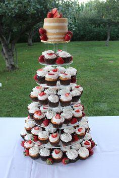 Wedding Cupcake Tower - Naked Cake