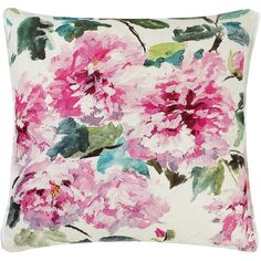 Designers Guild Shanghai Garden Peony Cushion found on Polyvore featuring home, home decor, throw pillows, pink, garden home decor, flower throw pillow, pink throw pillows, floral throw pillows and flower stem