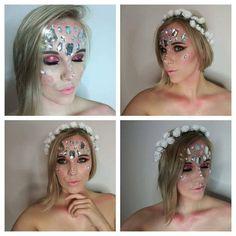 Pink Fairy, Halloween Make up idea. Glitter, Pink, blush, Swarovski, Flower, Beauty Halloween