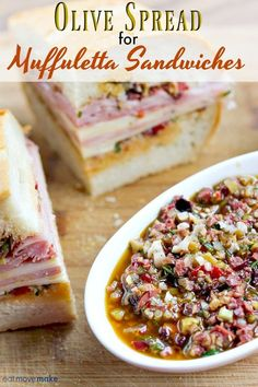 Try this super flavorful olive spread recipe for muffuletta (muffaletta) sandwic. Try this super flavorful olive s. Muffuletta Recipe, Muffuletta Sandwich, Muffaletta Spread Recipe, Muffaletta Olive Salad Recipe, Central Grocery Muffaletta Recipe, Sandwich Recipes, Appetizer Recipes, Appetizers, Olive Recipes