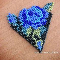 #muska #miyuki #mavi #gül #rose #boncuktanesidizayn #boncuk #elemeği #göznuru #kolye #necklace #yaprak