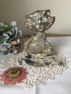 Vintage Silver Plated Cat Earring Holder by LuluAndMomsBoutique
