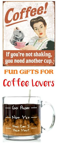 34 Fun Coffee Lover Gifts! So many fun gift ideas for the coffee lovers on your Christmas list... or creative fillers for your DIY gift basket! #coffeelovers