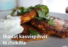 Ihanat kasvispihvit tsatsikilla #kauppahalli24 #ruoka #resepti #kasvispihvit