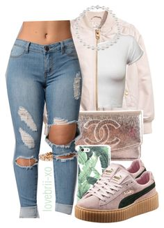 """""""listening to throwbacks"""" by lovebrii-xo ❤ liked on Polyvore featuring Chanel and Puma"""