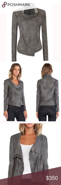 Muubaa Geneva Grey Suede Drape Jacket Designer Jacket by Muubaa: Geneva Grey Suede Drape Jacket Grey, draped, raw-cut cowl neck jacket with asymmetric zip opening, asymmetric hem line and cotton backed sleeves with zipped cuffs. The Muubaa Geneva Suede Jacket has a two-tone effect giving it a distressed finish, unique to each jacket. Muubaa Jackets & Coats