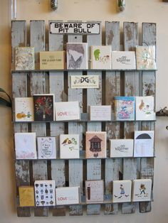 A rustic display of greeting cards.