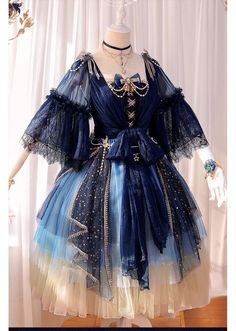 Fantasy Mirror -Under the Starry Sky- Vintage Classic Lolita OP Dress Fantasy Mirror – Unter dem Sternenhimmel – Klassisches Lolita OP-Kleid Mode Outfits, Dress Outfits, Fashion Dresses, Dress Up, Airport Outfits, Mesh Dress, Skirt Fashion, Pretty Outfits, Pretty Dresses