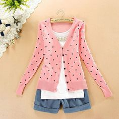 Free shipping BEST PRICE fashion women coat small love heart sweater PLUS SIZE cardigan knitted coat