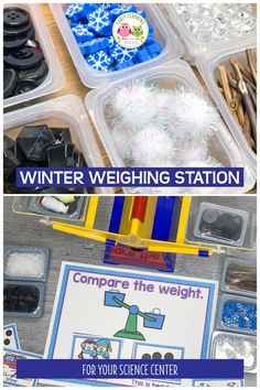 Are you looking for fun winter math activity ideas for your preschoolers? Find LOTS of great ideas to create a winter-themed weighing station today. Science Center Preschool, Preschool Lesson Plans, Science For Kids, Science Activities, Preschool Activities, Science Education, Science Experiments, Summer Science, Weather Activities