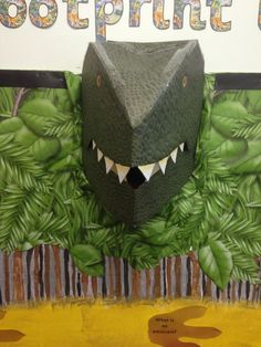Pop out dinosaur display for my class. This could be the entrance to the cave School Library Displays, Library Themes, Class Displays, Classroom Displays, Classroom Themes, School Libraries, Ks1 Classroom, Dinosaur Projects, Dinosaur Crafts