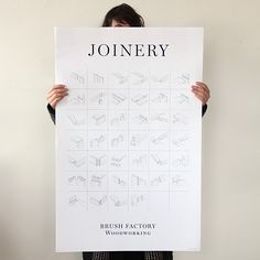 Joinery Poster for the boy. // Brush Factory design studio's favorite traditional woodworking joints featuring technical drawings illustrating how mortise and tenons, dovetails, half-laps and dozens more traditional woodworking joints go together.