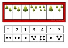 Use dots or numbers depending on what your student can handle. By Autismespektrum. Montessori Math, Preschool Curriculum, Preschool Worksheets, Preschool Christmas, Christmas Activities, Kids Christmas, Pre K Activities, Kindergarten Activities, Material Didático