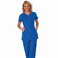 """Longer top from Koi in Royal Blue, 26"""" length (size S) 55% cotton/45% polyester soft twill top, Two functioning snap buttons and deep pockets XS-3X £27.50 #dental #uniforms #nurse #female #scrubs #tunics #top #healthcare #koi #Justine"""