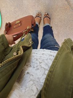 Love this look. Anorak Jacket, Lace Shell, and Deconstructed Jeans, Leopard Flats.