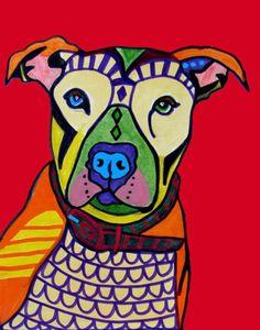 Pit Bull arte pintura moderna abstracta por HeatherGallerArt