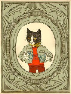 cats cradle silkscreen by animalsleep on Etsy