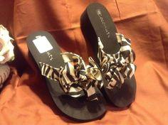 SOLD!! Women Ladies Coconuts Flip FLOPS Wedge Heels Fabric Black White Zebra Animal 9 #Coconuts #FlipFlops #Casual
