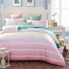 4 piecesset new summer tencel silk bedding king pink green stripes queen size