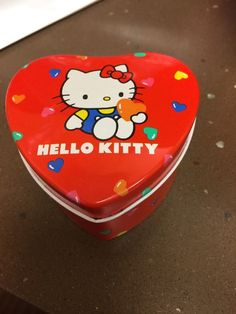 Vintage Sanrio 1983 Hello Kitty Heart Tin Can Container
