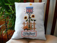 Summer Birdhouse with Sunflowers Cross by TheGardenStitcher