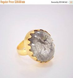 Handmade 18k gold plated Natural Solar Quartz Gemstone Rings Gold Electroplated Ring Handmade Gemstone Rings Jewelry statement cocktail ring