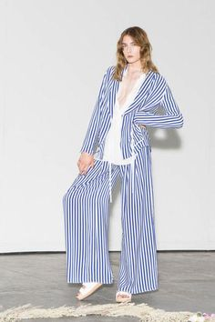 It's all about the stripes at Raquel Allegra Spring 2016