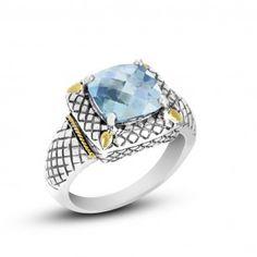 Eleganza Sterling Silver & 18KYG Cushion Blue Topaz Ring