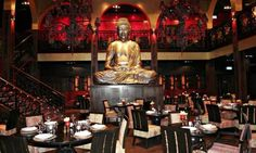 Buddha Bar - Location: Grosvenor House Hotel – Ground level of Tower One; Setting: Trendy interior, sensual chill-out music and sublime setting with its vaulted ceilings and towering windows overlooking the water; Type of Cuisine: Asian
