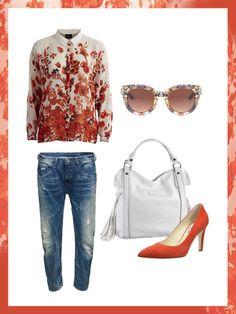 What to wear to work: das perfekte Büro-Outfit für den Frühling. Boyfriend Jeans, Bluse mit Blumenprint, rote Pumps, weiße Tasche und Sonnenbrille.