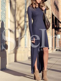 Navy Uneven Long Sleeve Asymetric High Low Dress 14.99