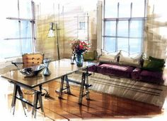 Light and shadow Drawing Interior, Interior Rendering, Interior Architecture, Interior And Exterior, Interior Design Videos, Interior Design Sketches, Croquis Architecture, Paper Houses, Design Model