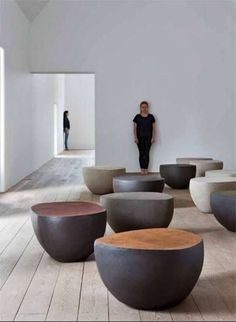 Atelier Vierkant – 'half clay pebble'- seating of the 'K- Series'